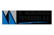 K Nordahls trykkeri logo. illustrasjon